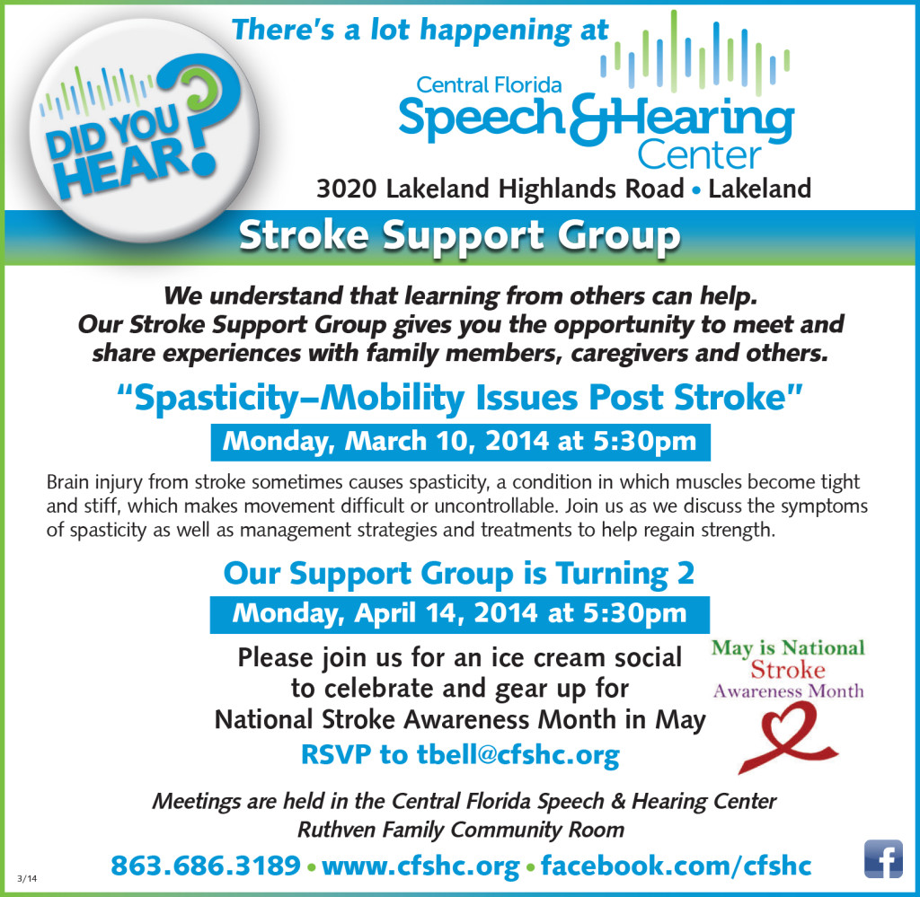 STROKE SUPPORT GROUP AD MAR-APR PRINT